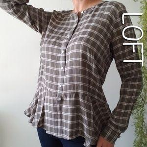 LOFT plaid peplum popover button front blouse